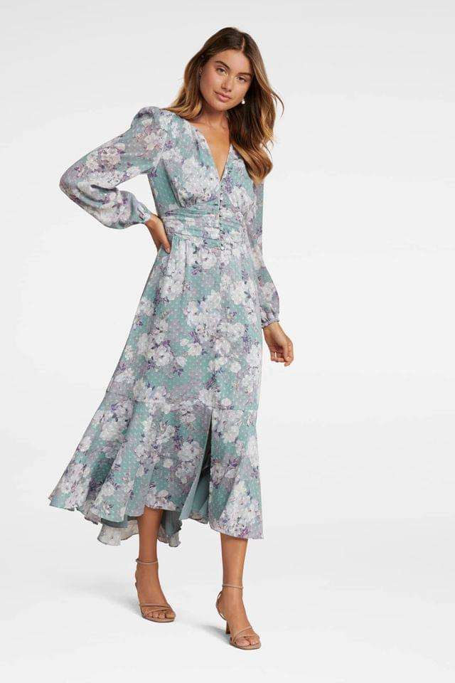 WOMEN Forever New Floral High-Low Maxi Dress