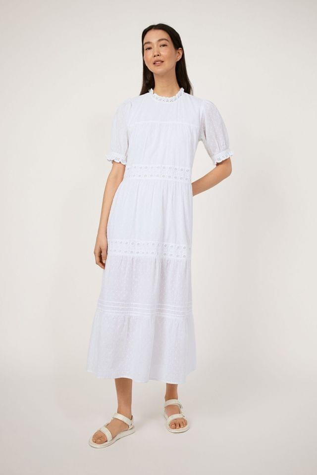 WOMEN Warehouse White Embroidered Tiered Midi Dress