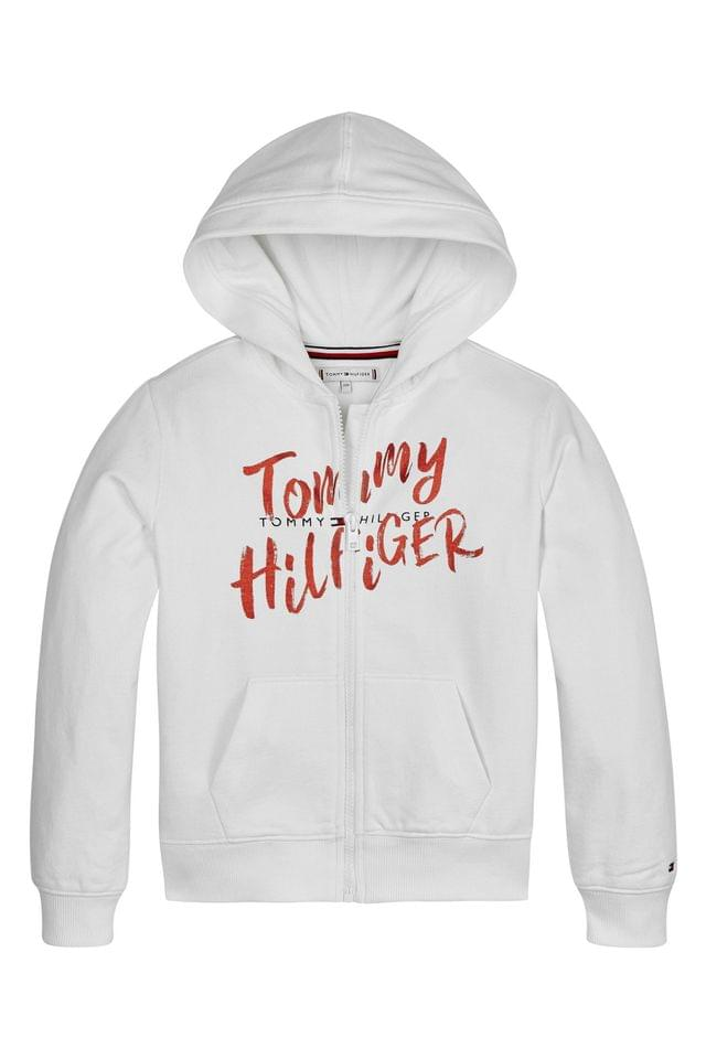 KIDS Tommy Hilfiger White Graphic On Graphic Full Zip Hoody