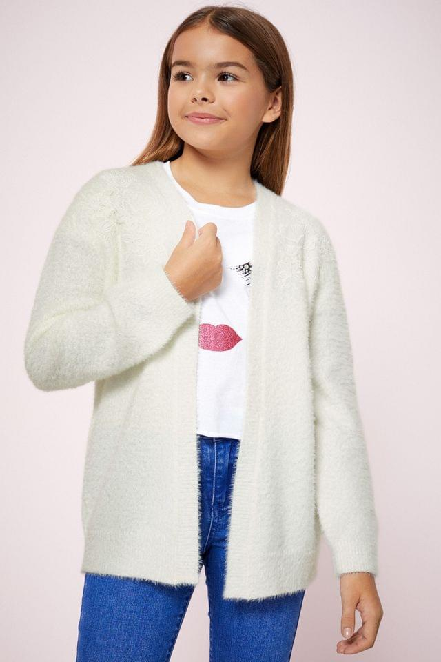 Girl's Lipsy Girl Lace Detail Cardigan