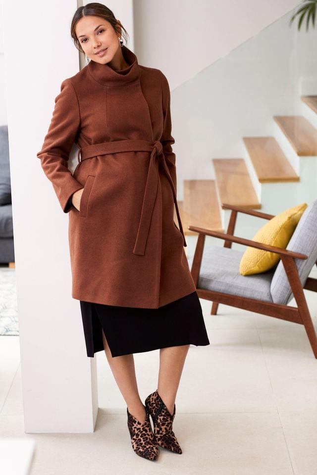 WOMEN Brown Maternity Belted Wrap Coat