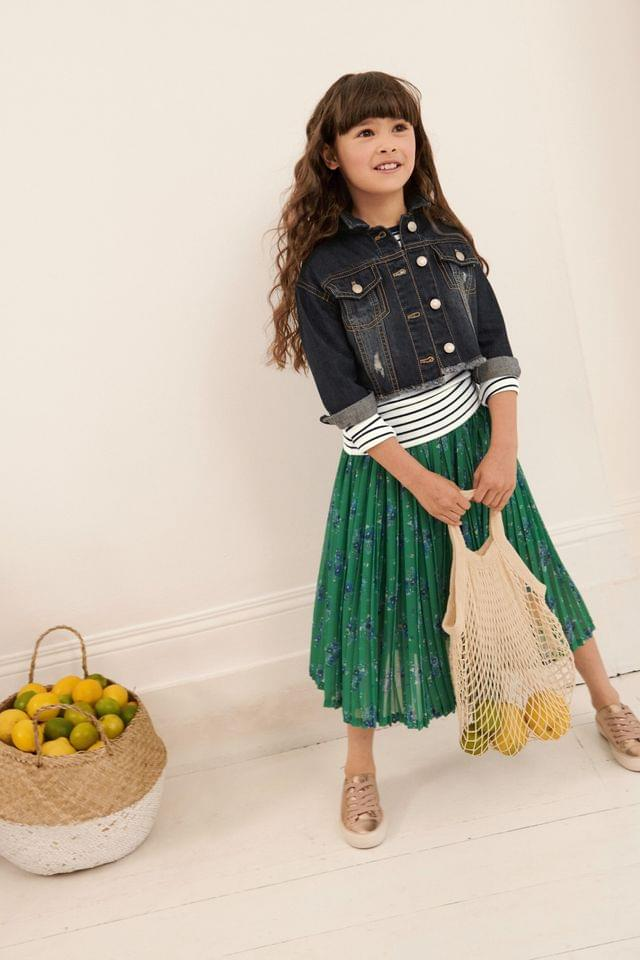 KIDS Green Floral Pleated Skirt (3-16yrs)