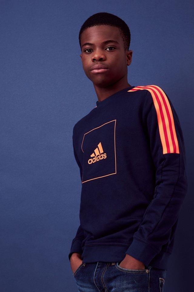 KIDS adidas Navy/Red Athletic Club Crew Sweater
