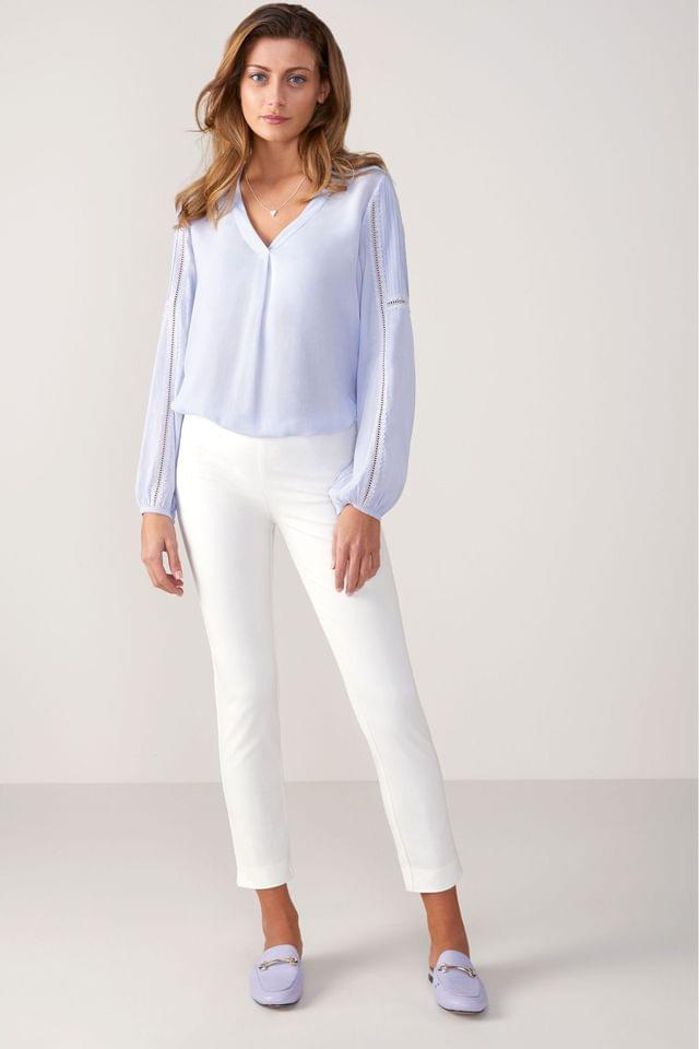 WOMEN Pure Collection White Cotton Stretch Crop Trousers