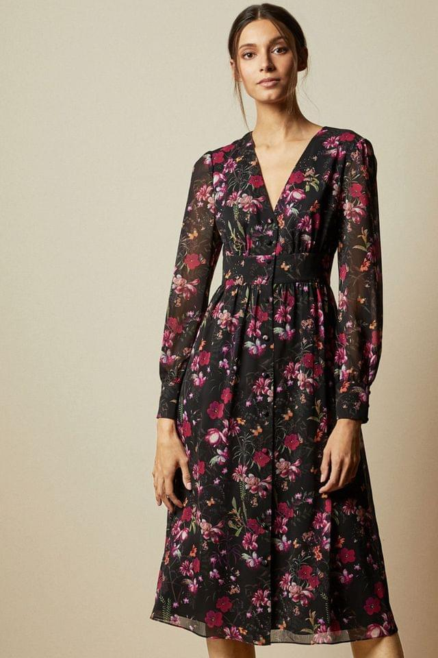WOMEN Ted Baker Black Adriela Fern Forest Deep V Midi Dress