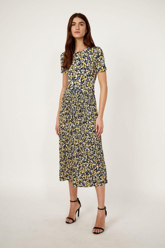 WOMEN Warehouse Yellow Daisy Micro Pleat Midi Dress