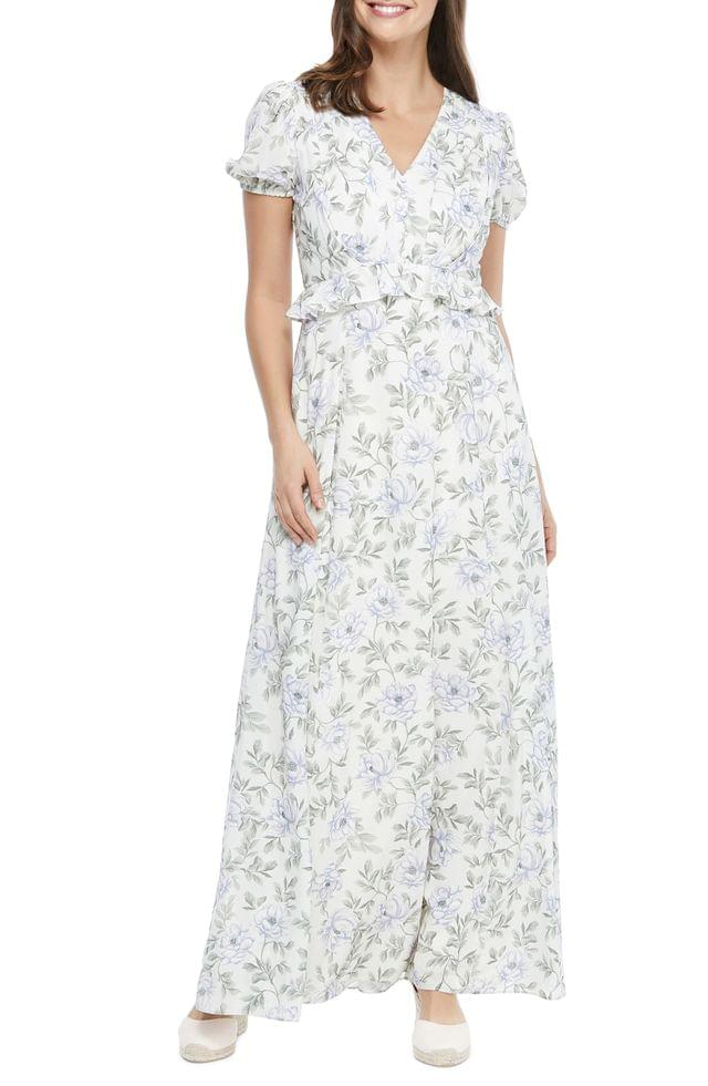 WOMEN Gal Meets Glam Collections Floral V-Neck Maxi Dress (Regular & Petite)