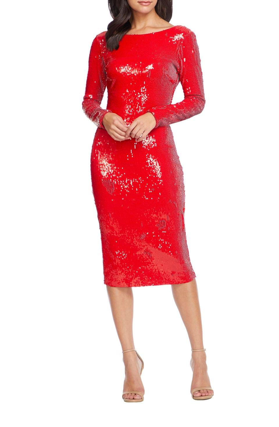 Women's Dress the Population Emery Sequin Long Sleeve Sheath Dress
