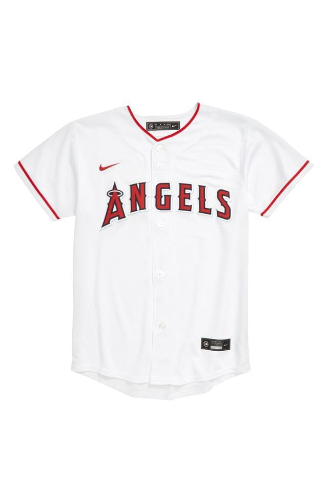 KIDS MLB LOGO x Nike Angels Home Baseball Jersey (Big Boy)