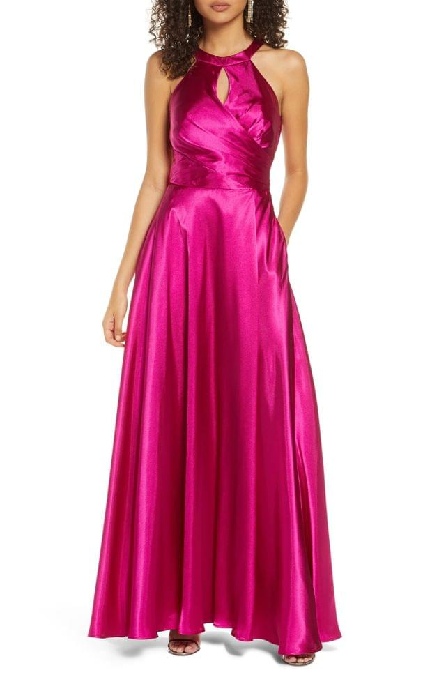WOMEN Morgan & Co. Bow Back Charmeuse A-Line Gown