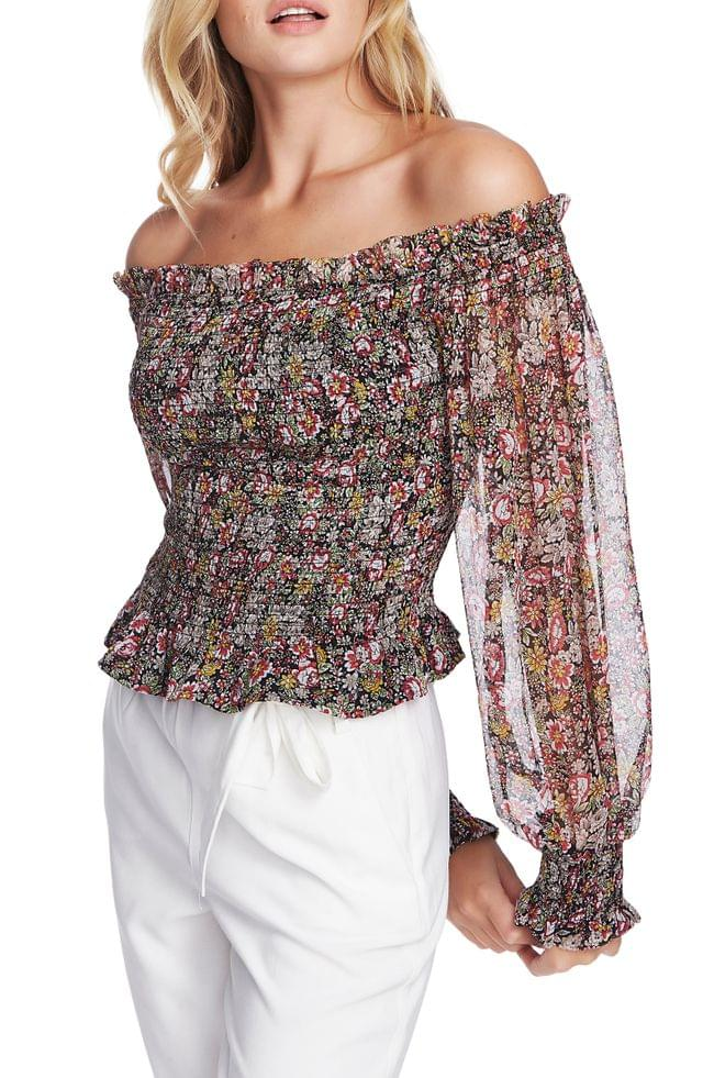 WOMEN 1.STATE Forest Gardens Smocked Off the Shoulder Top
