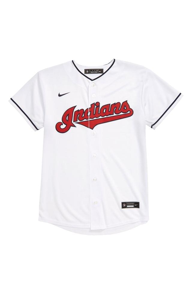 KIDS MLB LOGO x Nike Indians Home Baseball Jersey (Big Boy)