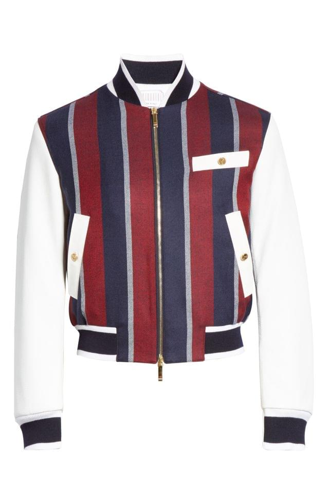 MEN Thom Browne Stripe Wool & Deerskin Leather Bomber Jacket (Nordstrom Exclusive)