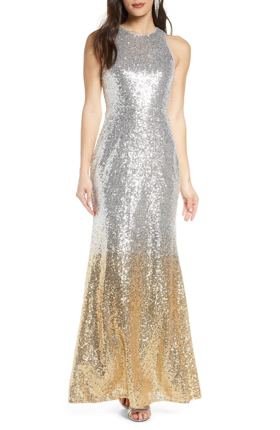 Women's Lulus Infinite Dreams Ombr Sequin Trumpet Gown
