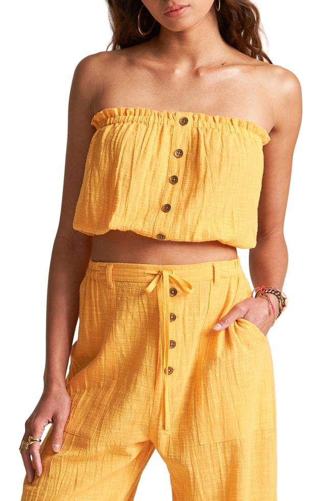 WOMEN Billabong x Sincerely Jules Spring Ray Strapless Cotton Gauze Top