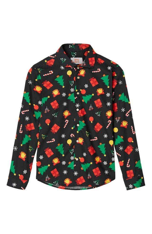 KIDS OppoSuits Christmas Icons Button-Up Shirt (Big Boys)