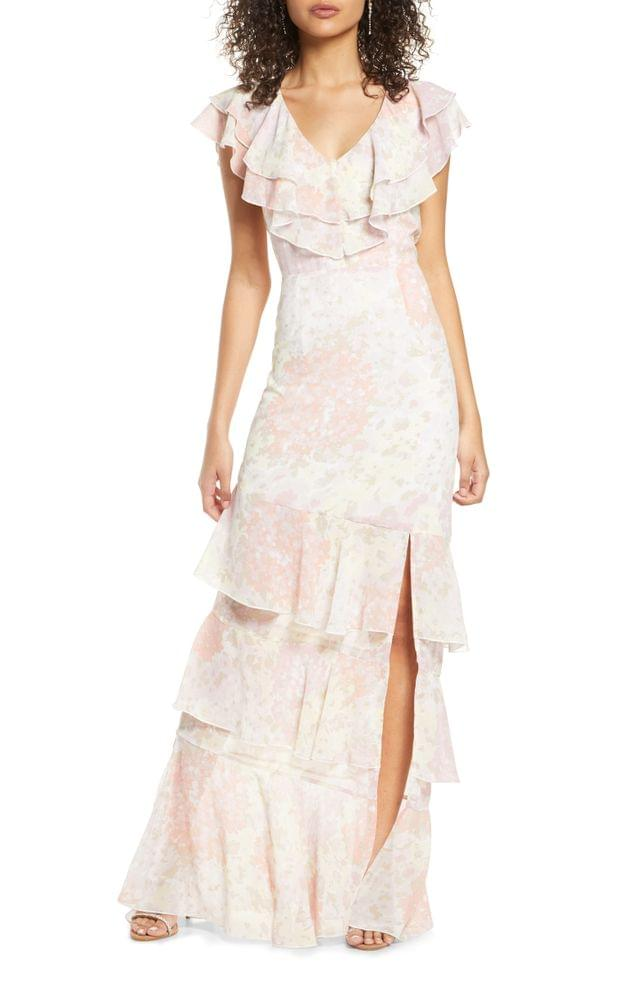 WOMEN WAYF The Campbell Ruffle Tiered Column Gown