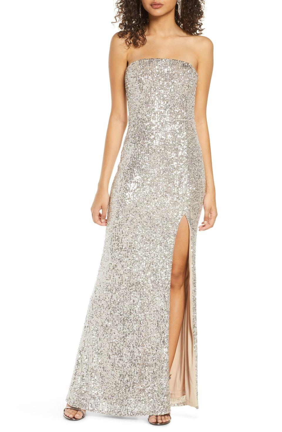 Women's Lulus Lavish Lover Sequin Strapless Gown