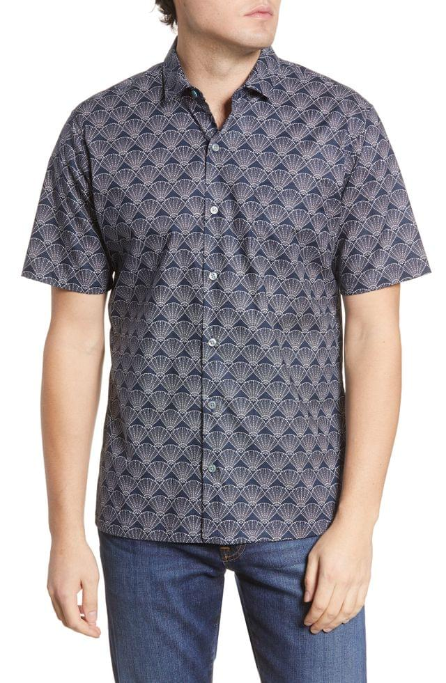 MEN Tori Richard Shell Corp Print Short Sleeve Button-Up Shirt