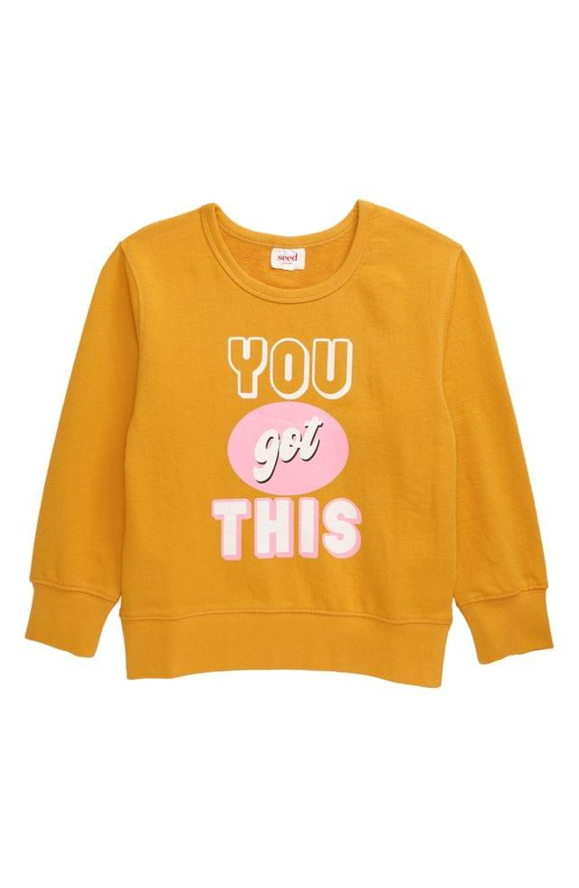 KIDSS seed heritage You Got This Windcheater Crewneck Sweatshirt (Toddler, Little Girl & Big Girl)