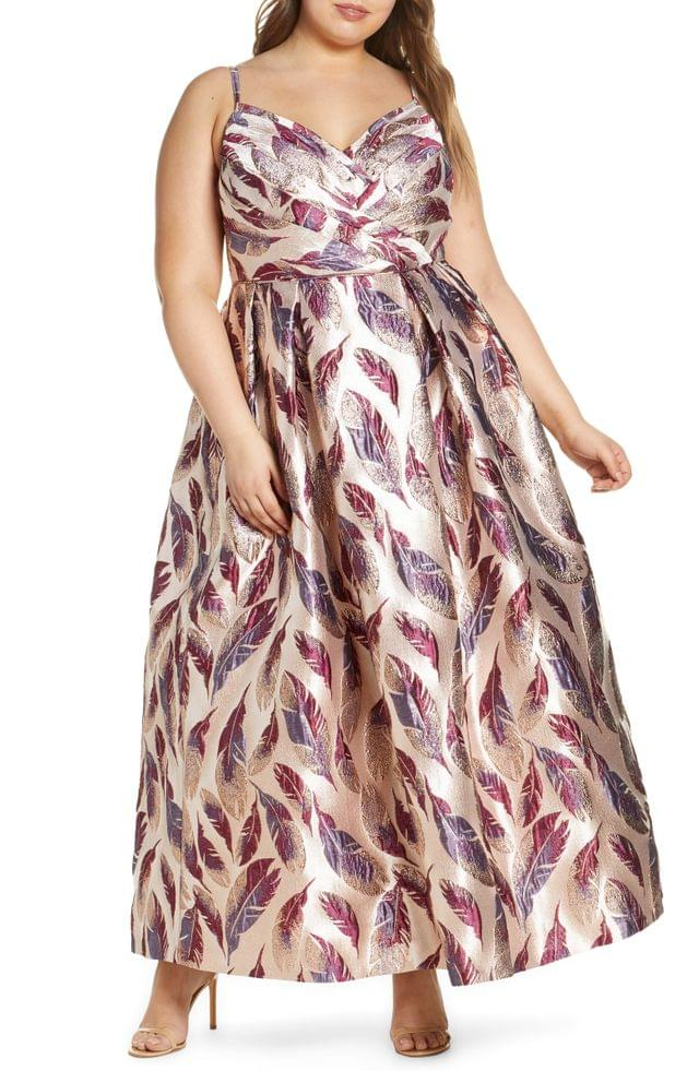 WOMEN Morgan & Co. Feather Brocade A-Line Gown (Plus Size)