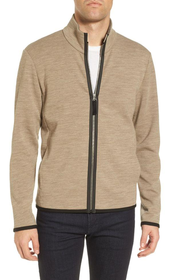 MEN James Perse Zip Front Performance Wool Blend Sweater