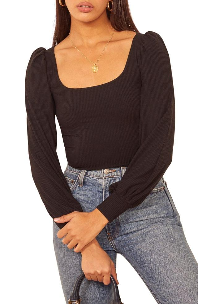 WOMEN Reformation Vita Ribbed Long Sleeve Top