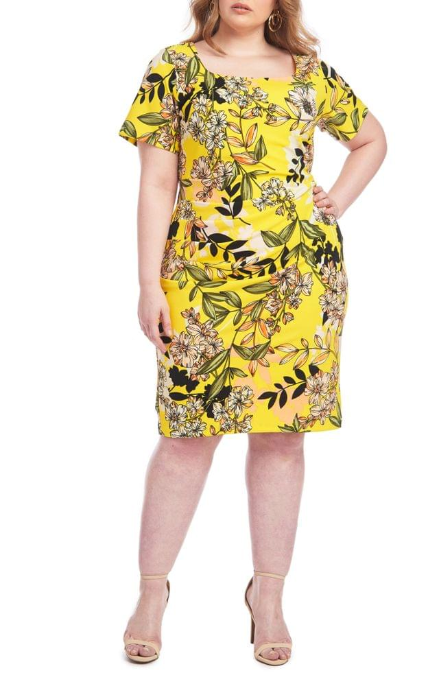 WOMEN Christian Siriano Floral Ruched Sheath Dress (Plus Size)