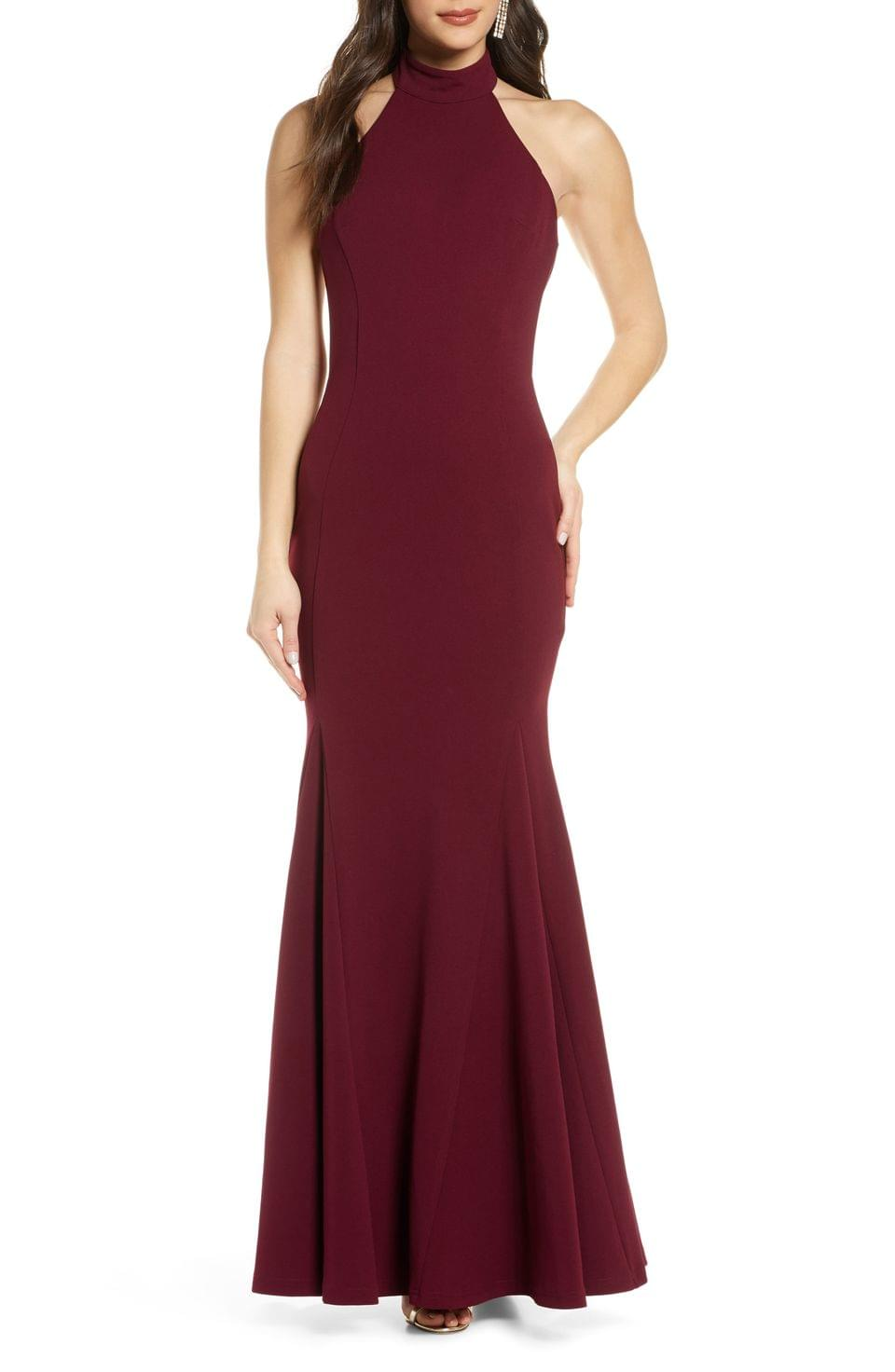 Women's Lulus Slice of Joy Halter Trumpet Gown