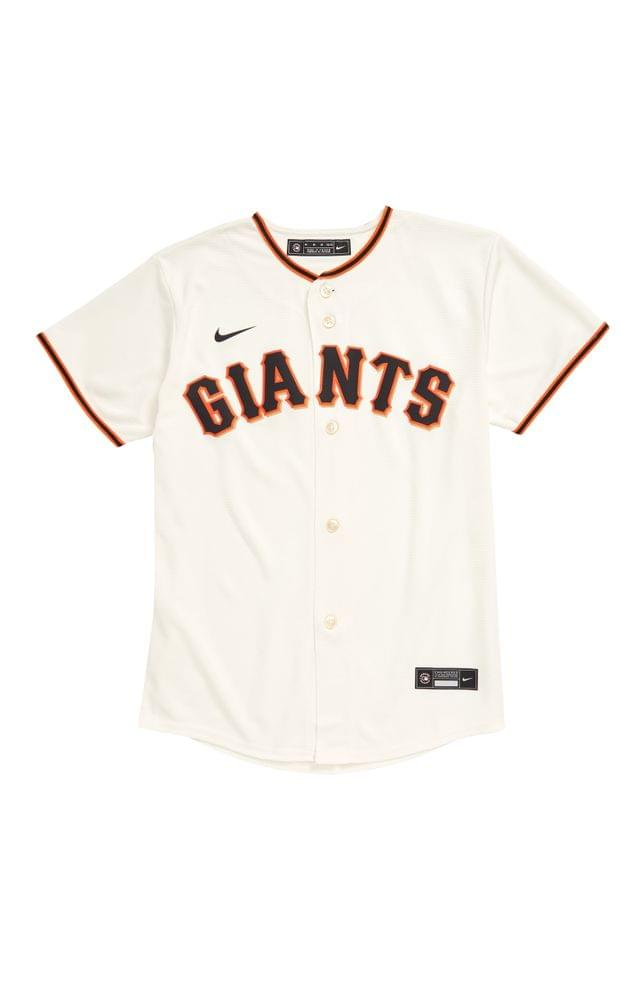 KIDS MLB LOGO x Nike Giants Home Baseball Jersey (Big Boy)