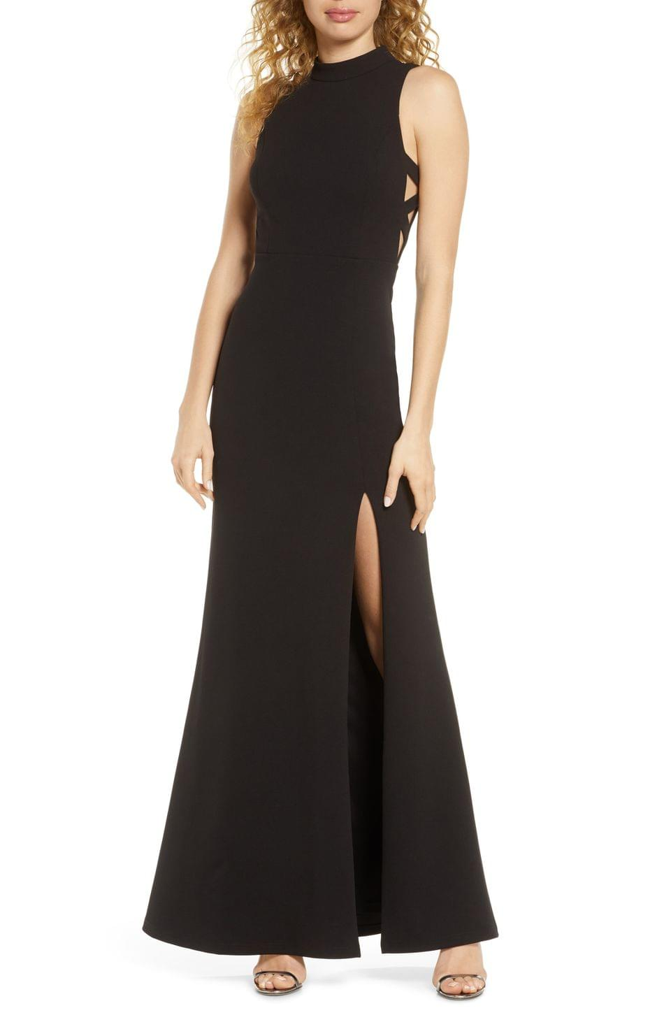 Women's Lulus Keep on Dancing Cutout Mock Neck Gown