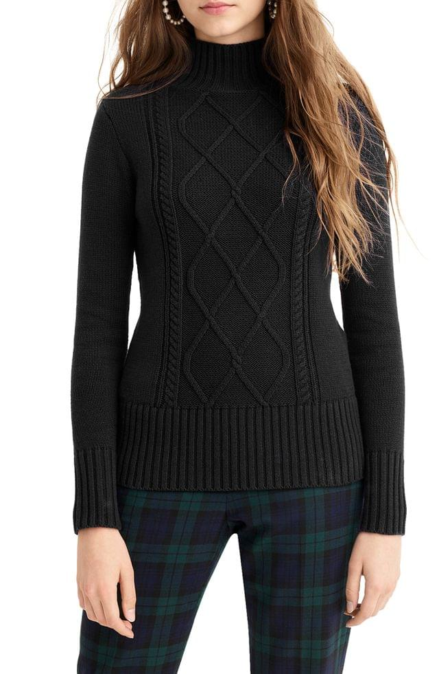 WOMEN J.Crew Mock Neck Center Cable Knit Sweater (Regular & Plus Size)