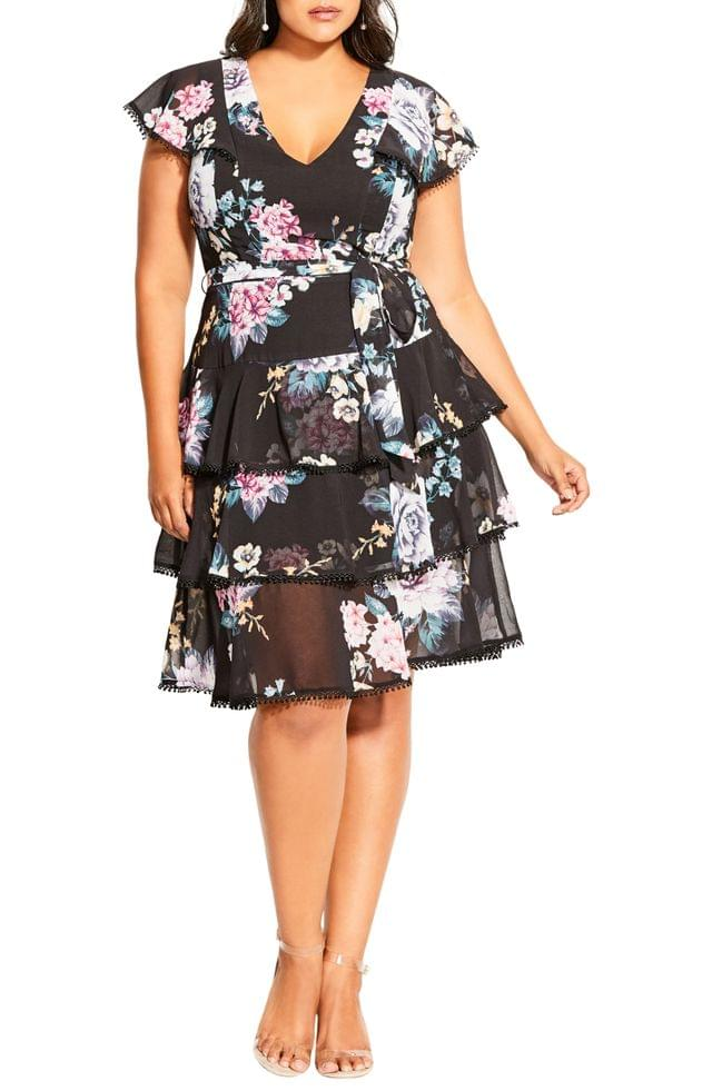 WOMEN City Chic Summer Blooms Tiered Ruffle Dress (Plus Size)