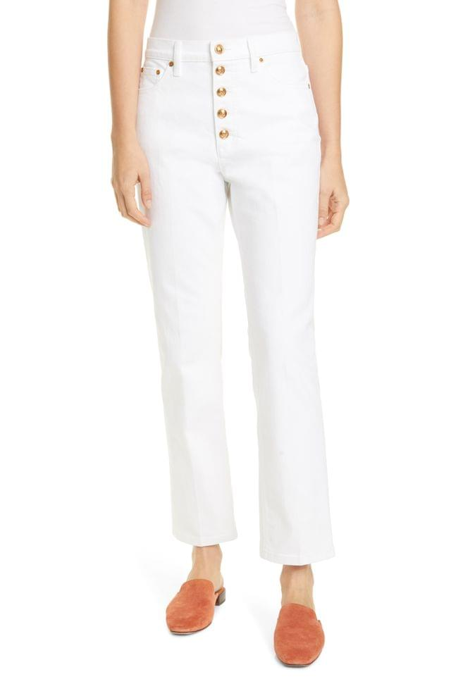 WOMEN Tory Burch Button Fly Jeans (Rinse)