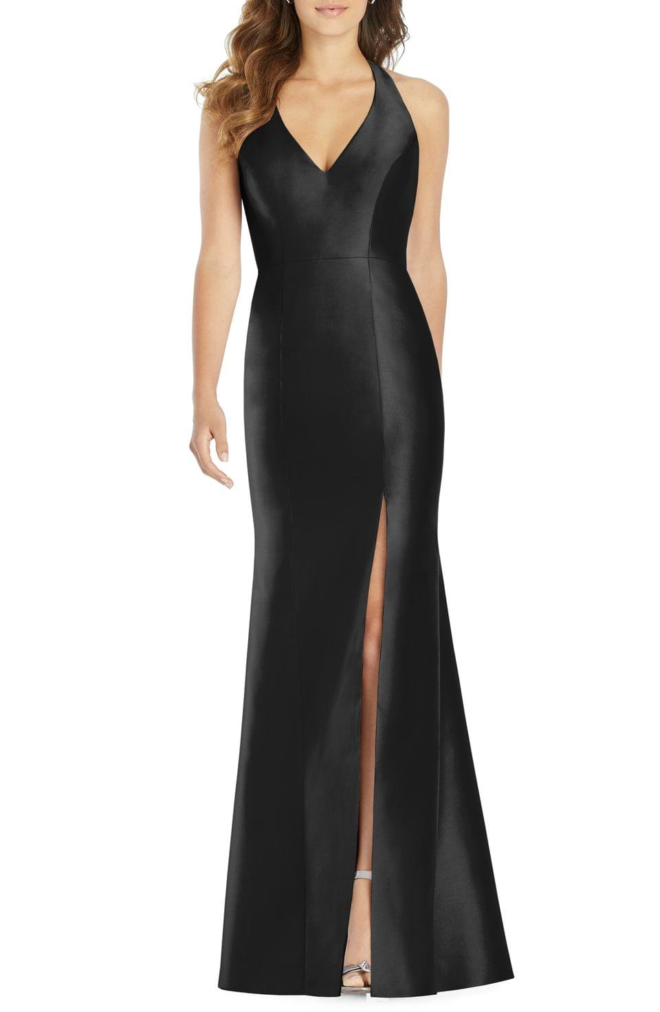 Women's Alfred Sung Halter Neck Sateen Twill Trumpet Gown