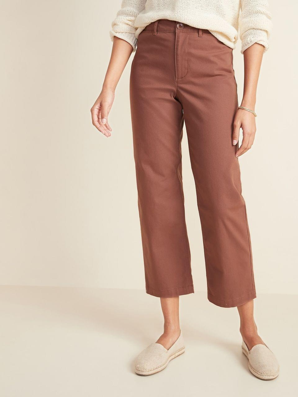 Women's High-Waisted Slim Wide-Leg Chinos for Women