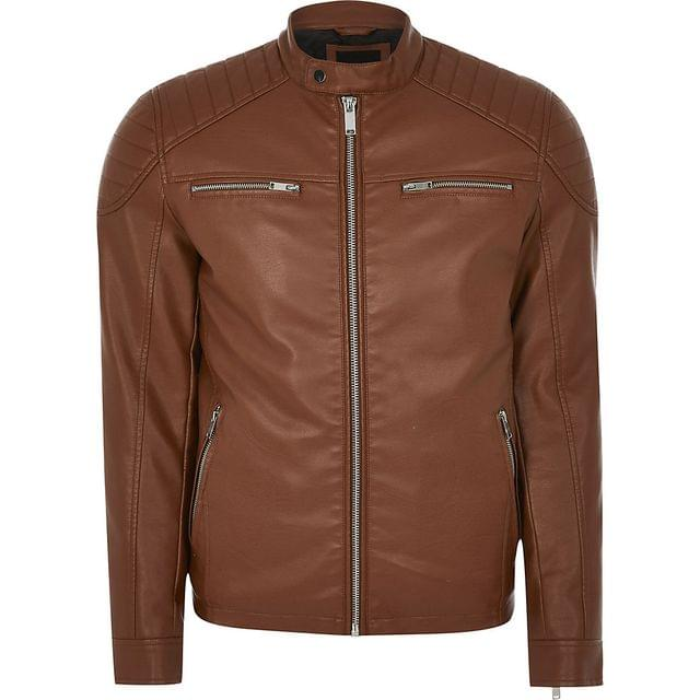 MEN Brown faux leather racer jacket
