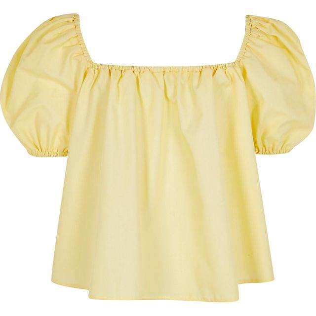 KIDS Girls yellow puff sleeve bardot top