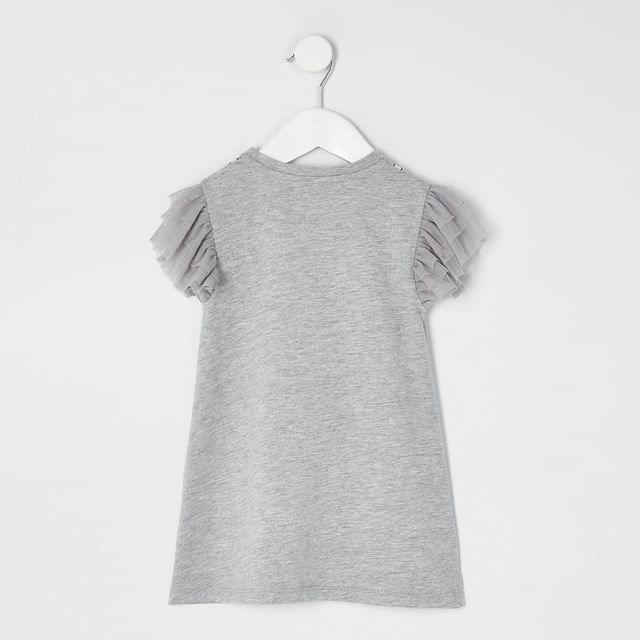 KIDS Mini girls grey bow frill T-shirt dress