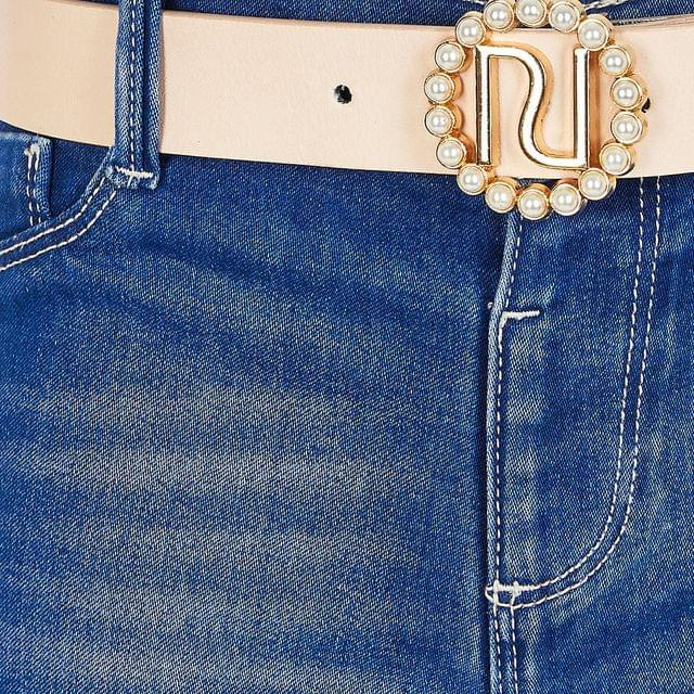 KIDS Girls bright blue ripped Molly belted jeans