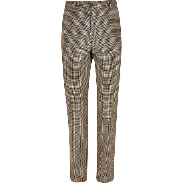 MEN Brown check slim suit trousers