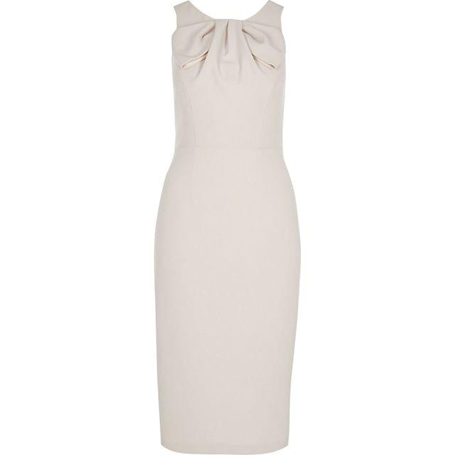 WOMEN Grey bow neck bodycon midi dress