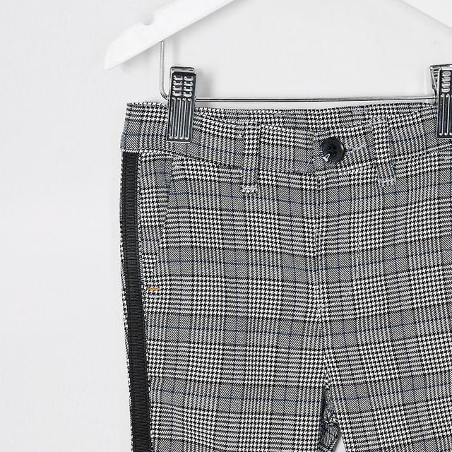 KIDS Mini boys grey check tape side trousers