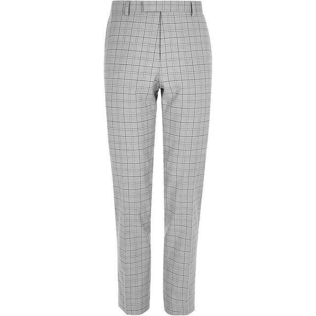 MEN Big and Tall grey check suit trousers