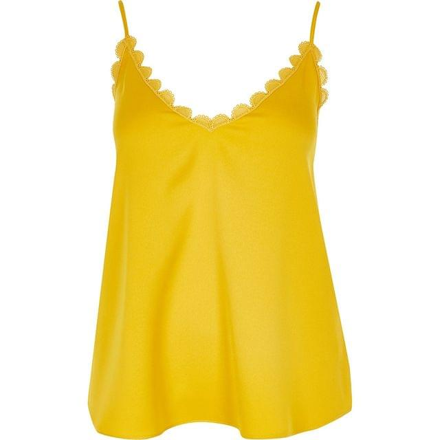 WOMEN Yellow embroidered scallop trim cami top