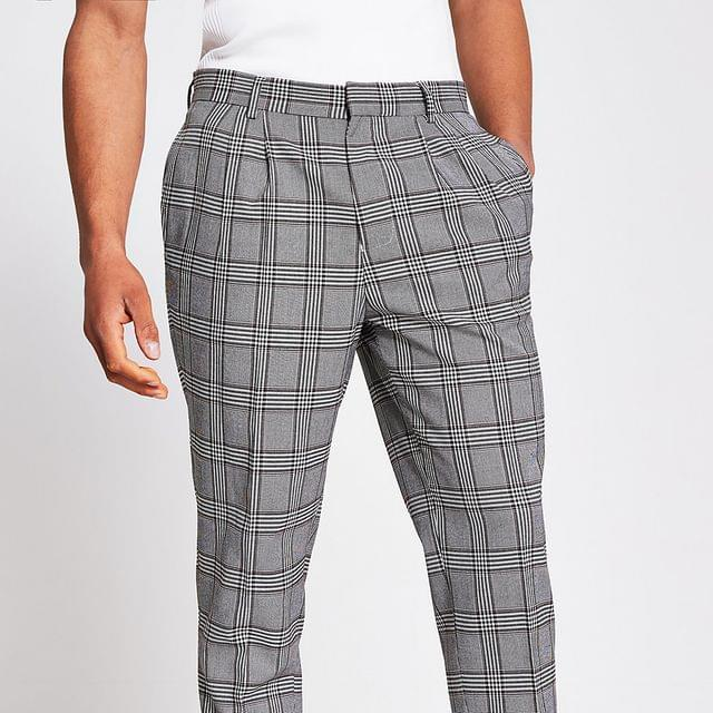 MEN Grey check double pleat trousers