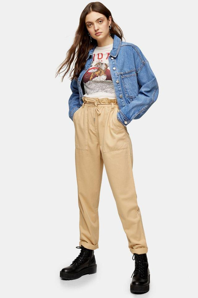WOMEN Tan Marl Tapered Trousers