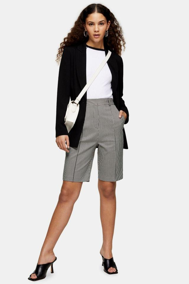 WOMEN Black and White Houndstooth Bermuda Shorts