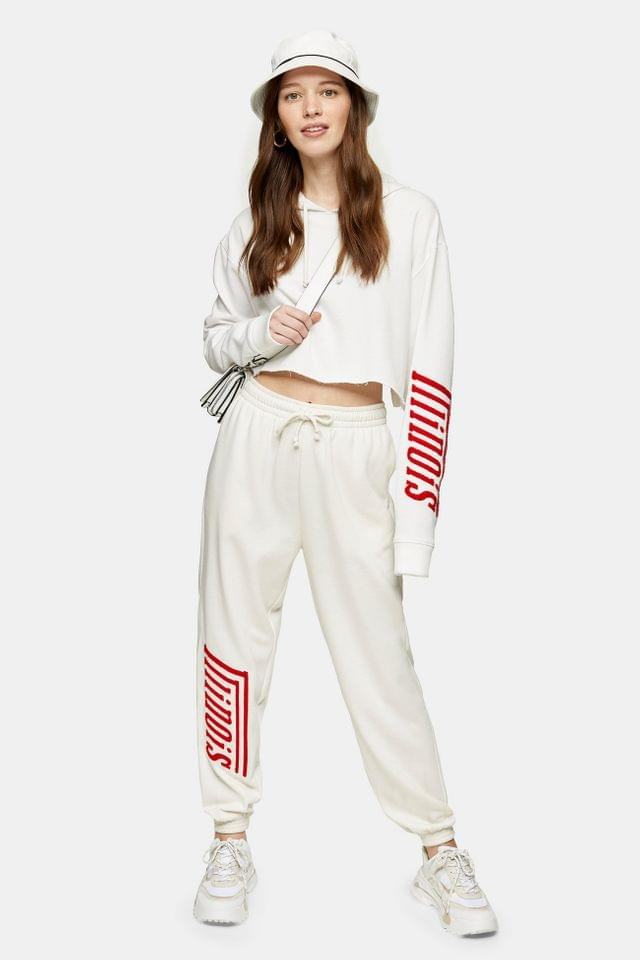 WOMEN White Illinois Slogan Detail Joggers