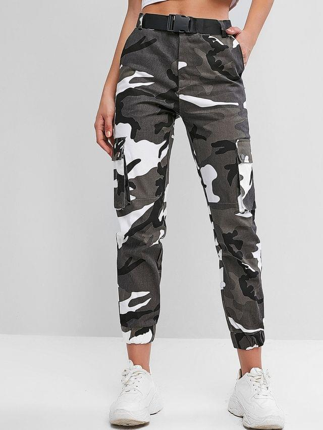 WOMEN Camouflage Belted High Waist Jogger Pants - Multi M